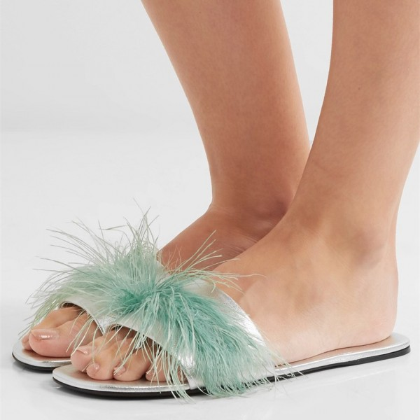Turquoise Women's Slide Sandals Open Toe Furry Flat Sandals image 1