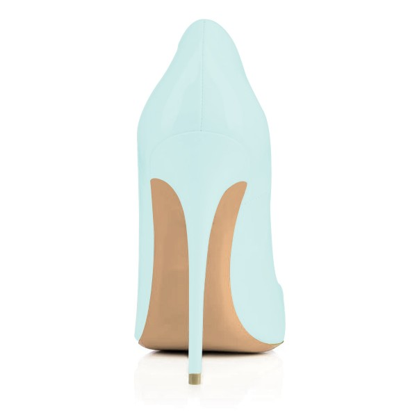 Aqua Shoes Patent Leather Stiletto Heel Pumps with Beaded Heart image 3