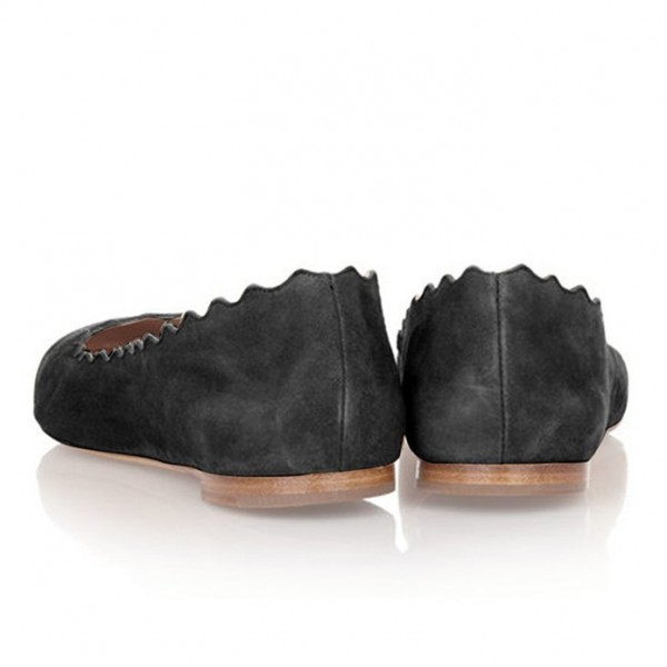 Black Comfortable Flats Suede Round Toe Shoes image 3