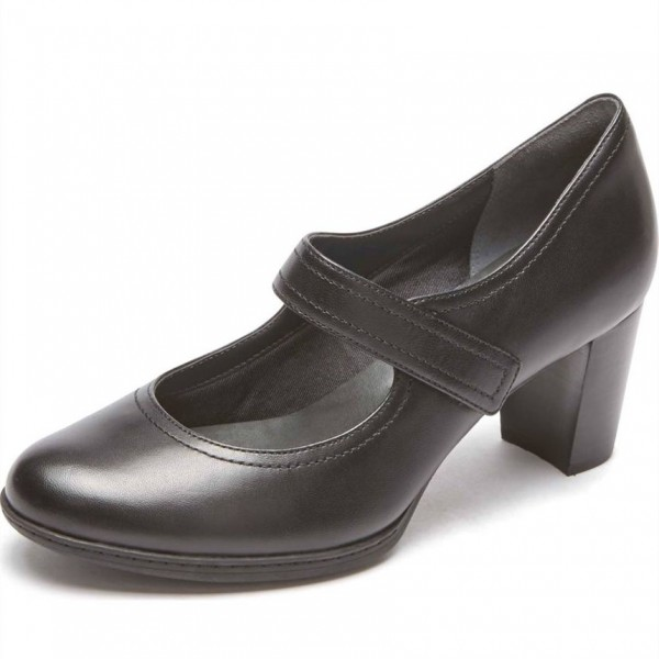 Velcro Strap Mary Jane Pumps Chunky Heels Office Shoes image 1