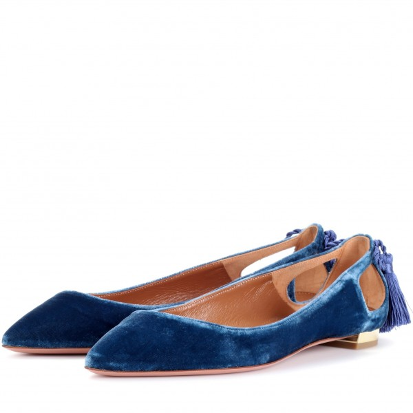 Velvet Navy Pointy Toe Flats Hollow out Tassels Heels for Women image 1