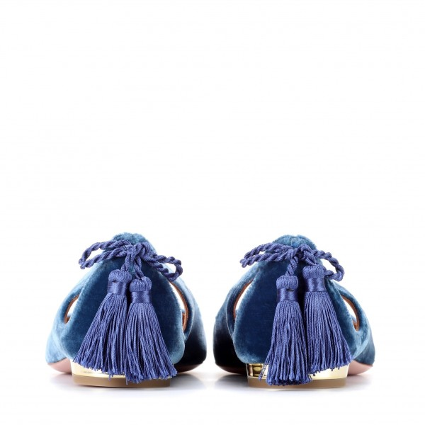 Velvet Navy Pointy Toe Flats Hollow out Tassels Heels for Women image 3