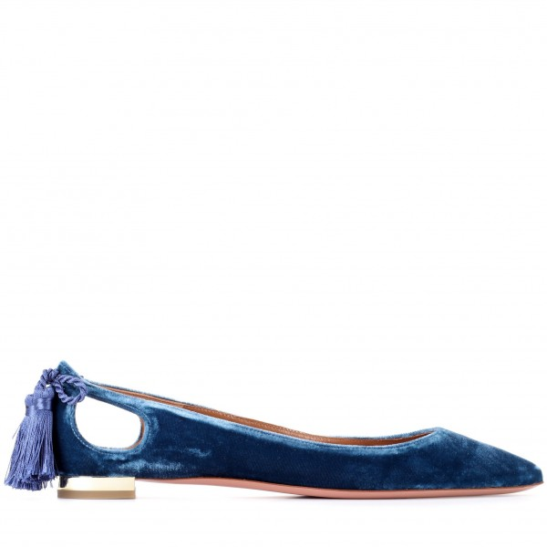 Velvet Navy Pointy Toe Flats Hollow out Tassels Heels for Women image 2