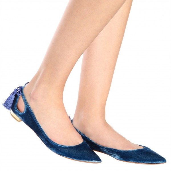 Velvet Navy Pointy Toe Flats Hollow out Tassels Heels for Women image 4