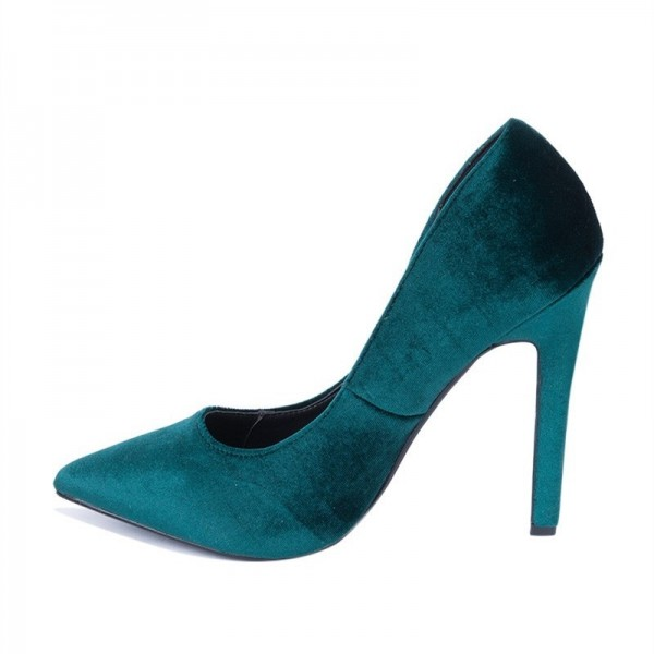 Velvet Stiletto Heels Teal Shoes Pointy Toe Pumps for Women image 3