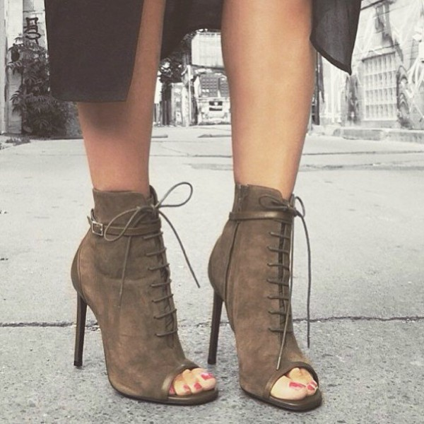 Brown Peep Toe Booties Lace up Stiletto Heel Vintage Boots image 2