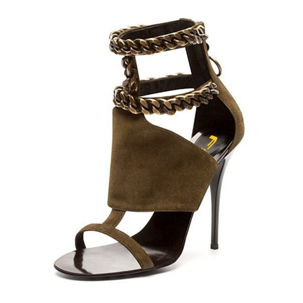 Olive Stiletto Heels Open Toe Cut out T Strap Suede Sandals image 1