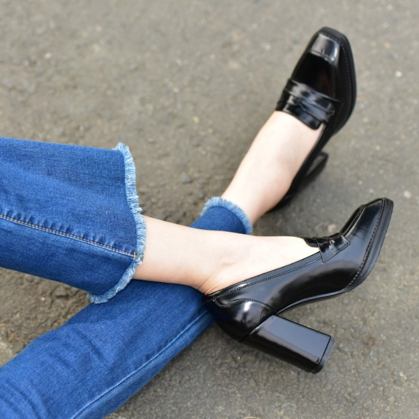 Black Patent Leather Block Heel Square Toe Heeled Loafers for Women image 3