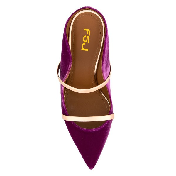Violet and Gold Double Straps Stiletto Heel Mules image 2