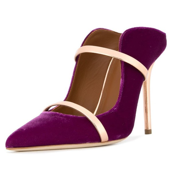 Violet and Gold Double Straps Stiletto Heel Mules image 1