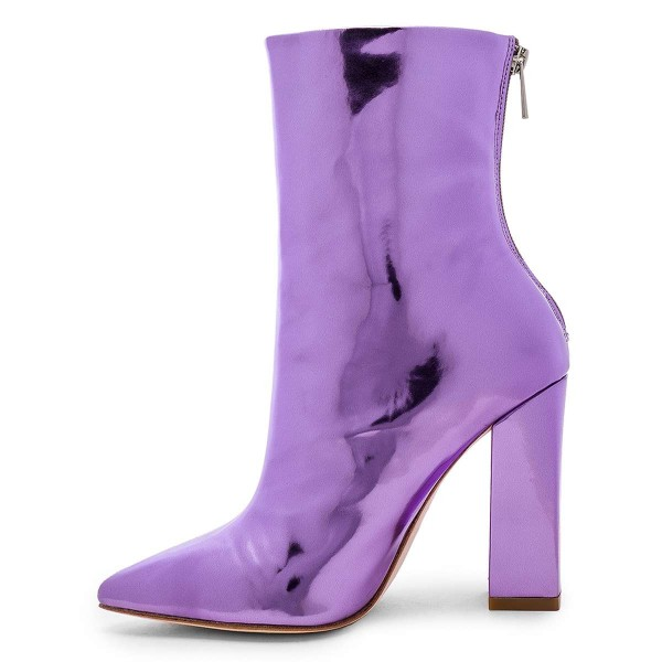 Violet Metallic Chunky Heel Boots Ankle Boots image 4