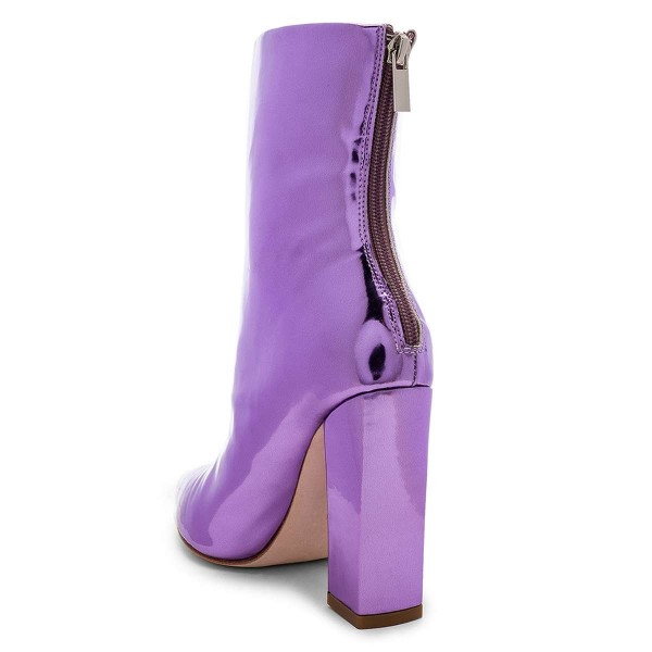 Violet Metallic Chunky Heel Boots Ankle Boots image 3