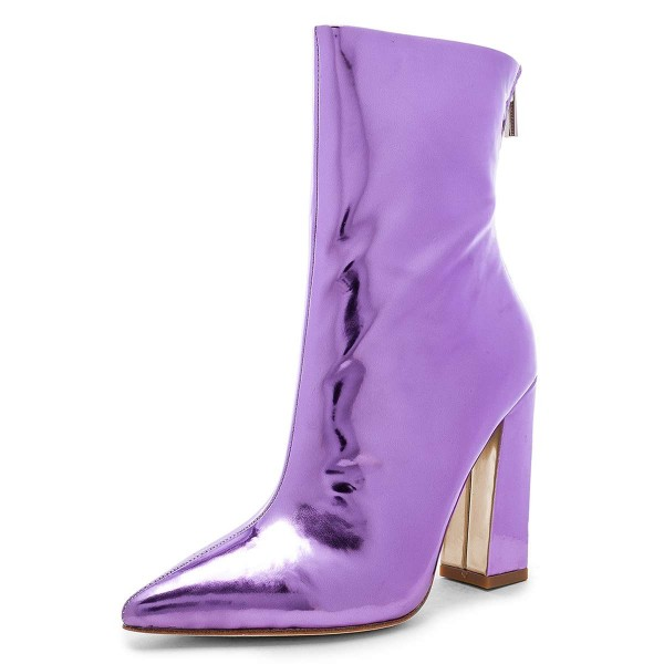 Violet Metallic Chunky Heel Boots Ankle Boots image 1