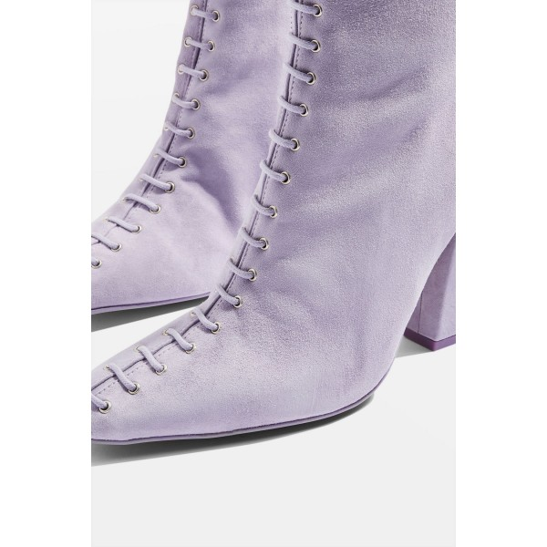 Violet Suede Lace Up Chunky Heel Boots image 3