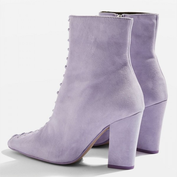 Violet Suede Lace Up Chunky Heel Boots image 4