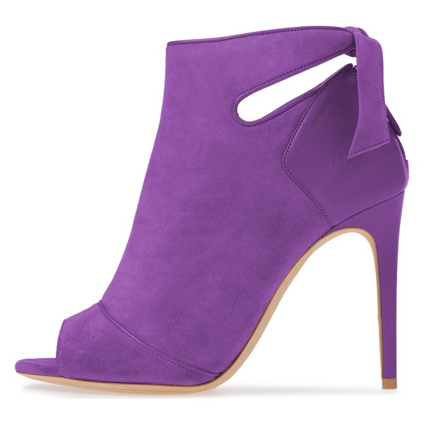 Purple Fall Boots Peep Toe Back Tie Stiletto Heel Ankle Booties image 3