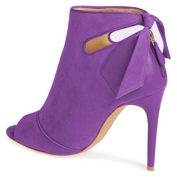 Purple Fall Boots Peep Toe Back Tie Stiletto Heel Ankle Booties image 4