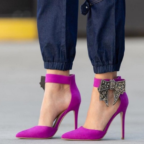 Magenta Suede Pointy Toe Bow Ankle Strap Heels Pumps image 1