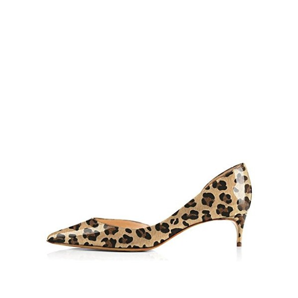 Women's Lilian Brown Leopard Print Heels Kitten Heel Pumps image 4