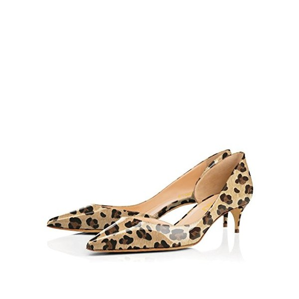 Women's Lilian Brown Leopard Print Heels Kitten Heel Pumps image 1
