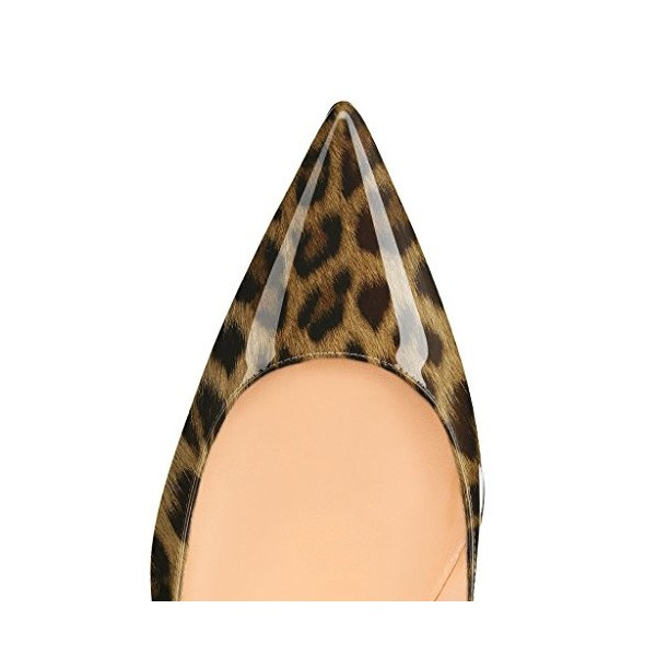 Leopard-print Heels Patent Leather Pointy Toe 4 Inch Stiletto Heels Pumps image 4
