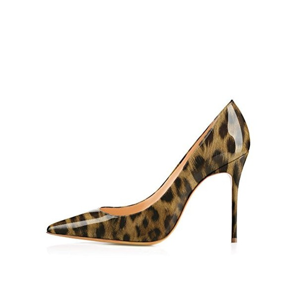 Leopard Print Heels Patent Leather Stiletto Heel Pumps by FSJ image 3
