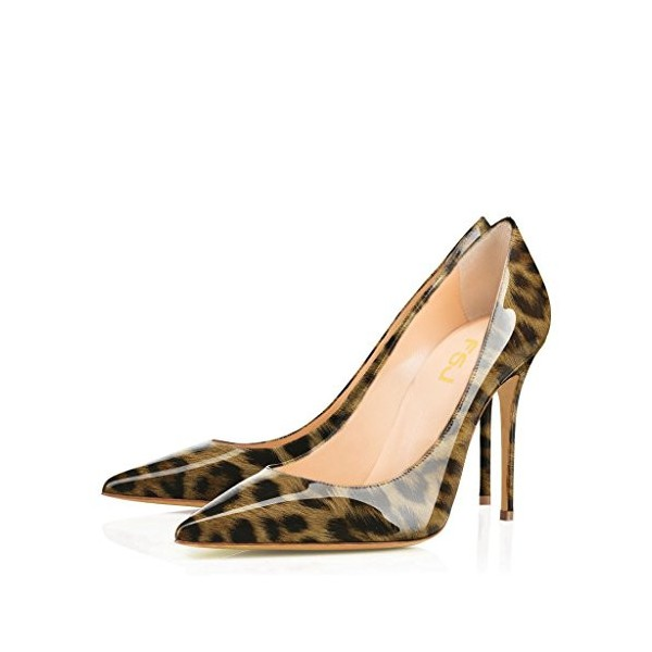 Leopard-print Heels Patent Leather Pointy Toe 4 Inch Stiletto Heels Pumps image 1
