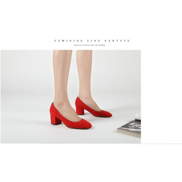 Women's Rose Red Commuting Chunky Heels Pumps Shoes image 3