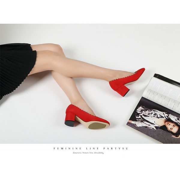 Women's Rose Red Commuting Chunky Heels Pumps Shoes image 4