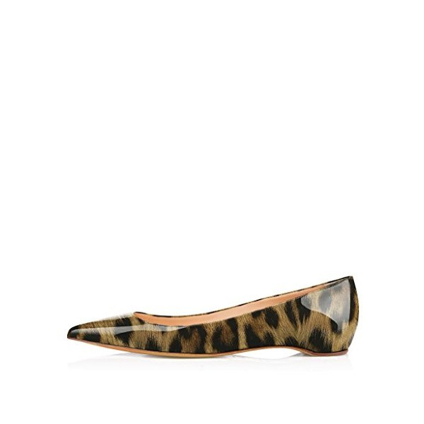 Leopard Print Flats Patent Leather Pointy Toe Comfortable Shoes image 2