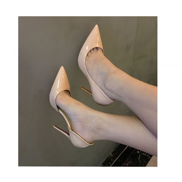 Blush Heels Patent Leather Nude D'orsay Pumps Stiletto Heels image 5
