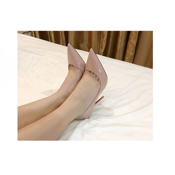 Blush Heels Patent Leather Nude D'orsay Pumps Stiletto Heels image 6