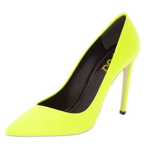 On Sale Neon Yellow Vegan Shoes Pointy Toe Stiletto Heel Pumps image 1