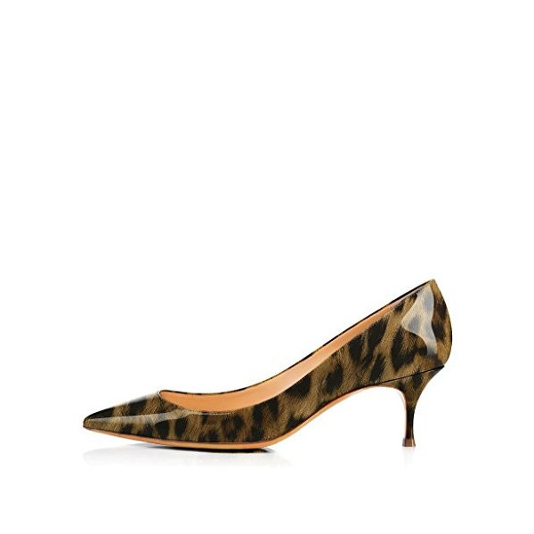 Women's Patent Brown Low Cut Upper Kitten Heel Leopard Print Heels Pumps image 4