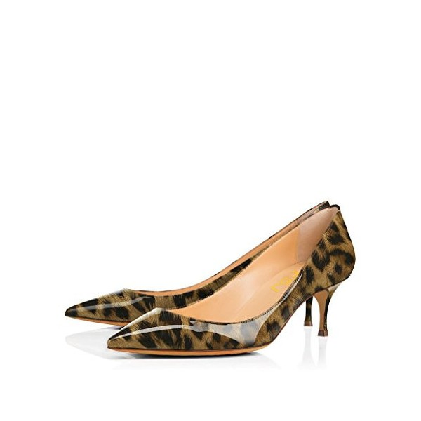 Leopard Print Heels Pointy Toe Patent Leather Kitten Heels Pumps by FSJ image 1