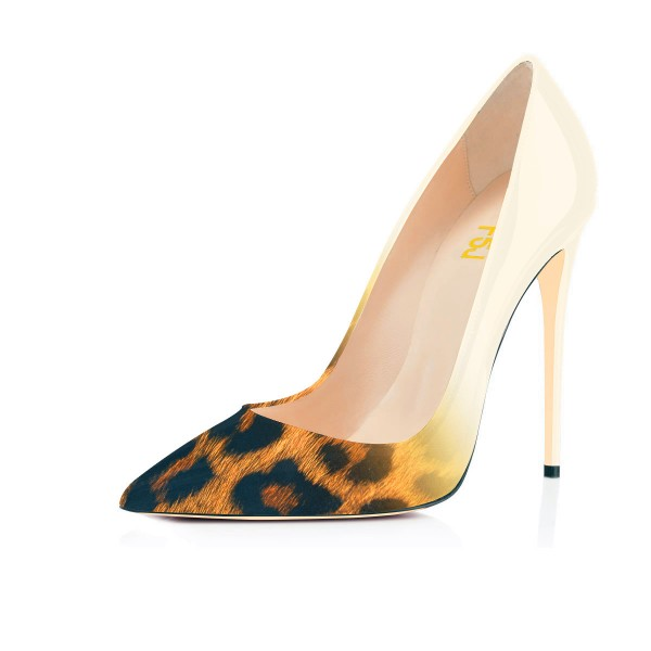 Women's  Pointed Toe Leopard Print Heels Stiletto Pencil Heel Pumps image 1