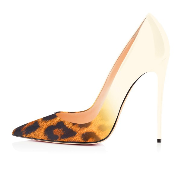 Women's  Pointed Toe Leopard Print Heels Stiletto Pencil Heel Pumps image 4