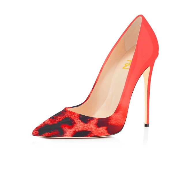Red Pointed Toe Dress Shoes Leopard Print Stiletto Heels Pumps image 1