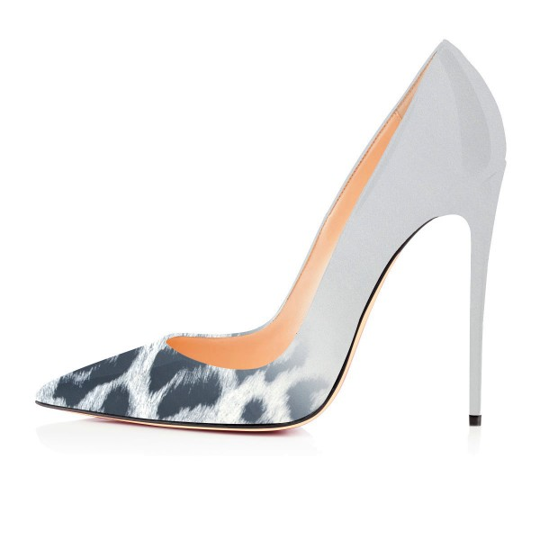 Fashion Lightgrey Pointed Toe Leopard Print Stiletto Pencil Heel Pumps image 2