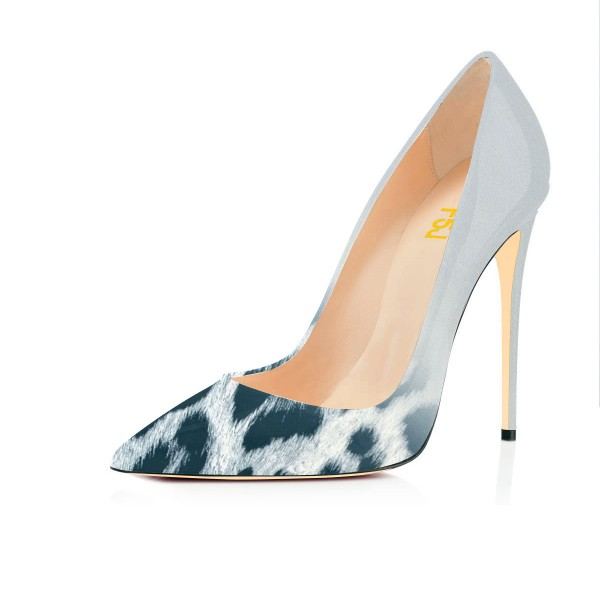Fashion Lightgrey Pointed Toe Leopard Print Stiletto Pencil Heel Pumps image 1