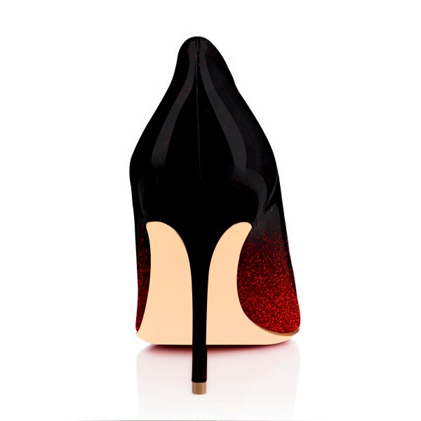 Black and Red Sparkly Heels Patent Leather Stiletto Heels Pumps image 4