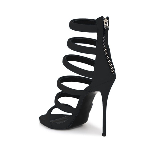 Women's Black Suede Open Toe Stiletto Heels Gladiator Sandals image 4