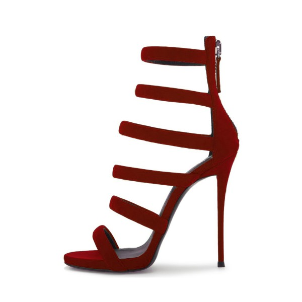 Women's Red Suede Open Toe Stiletto Heel Sandals Gladiator Shoes image 3