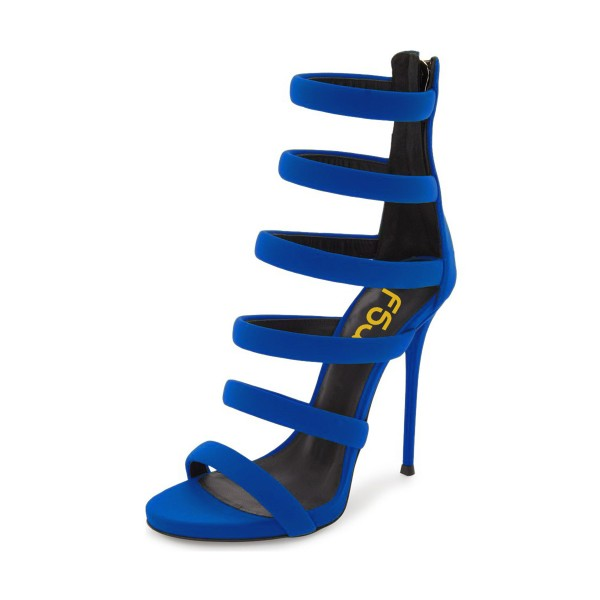 Royal Blue Heels Suede Stilettos Gladiator Sandals for Ladies image 1