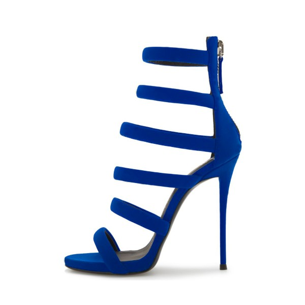 Royal Blue Heels Suede Stilettos Gladiator Sandals for Ladies image 3