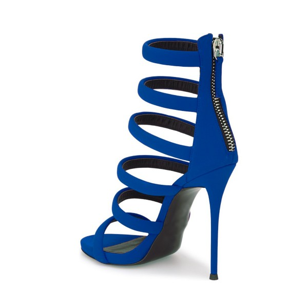 Royal Blue Heels Suede Stilettos Gladiator Sandals for Ladies image 4