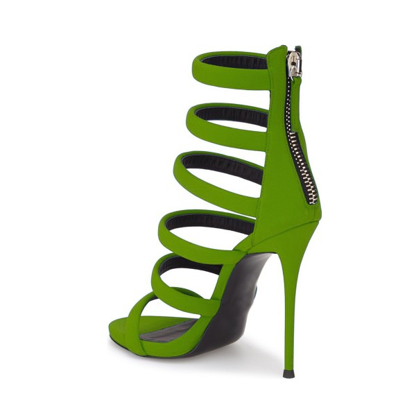 Women's Green Suede Gladiator Sandals Open Toe Stiletto Heels image 4
