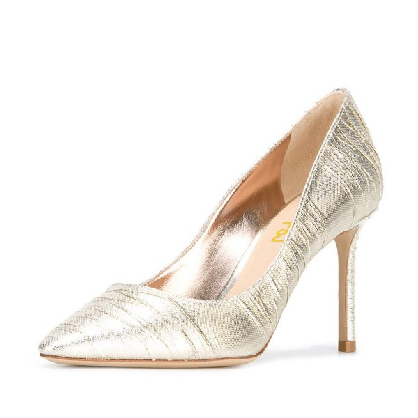 Champagne Wedding Heels Pointy Toe Pumps Stiletto Heels for Bride image 1