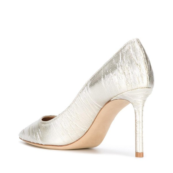 Champagne Wedding Heels Pointy Toe Pumps Stiletto Heels for Bride image 3