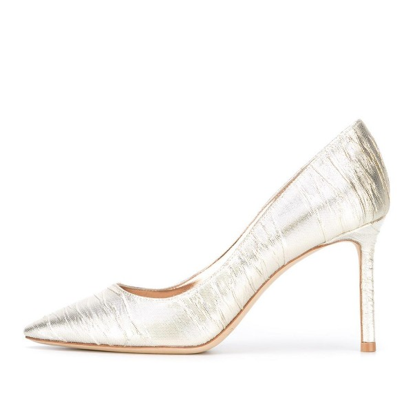 Champagne Wedding Heels Pointy Toe Pumps Stiletto Heels for Bride image 2